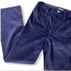 J.Crew demi-boot cropped velvet pants, navy 27P